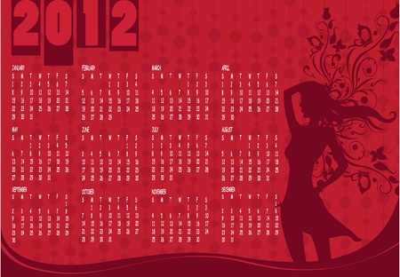 Illustration of style design Calendar for 2012 With sexy girl Vector