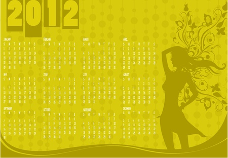 Illustration of style design Calendar for 2012 With sexy girl