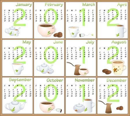 Illustration of cafe style design Calendar for 2012 Vector