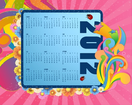 Illustration of colorful style design Calendar for 2012 Vector