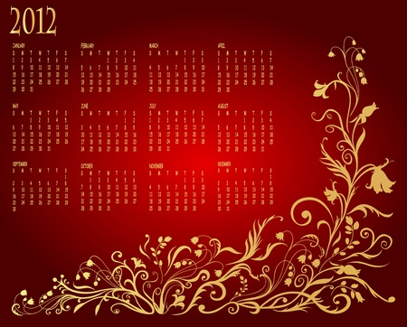 Illustration of floral style design Calendar for 2012 Vector