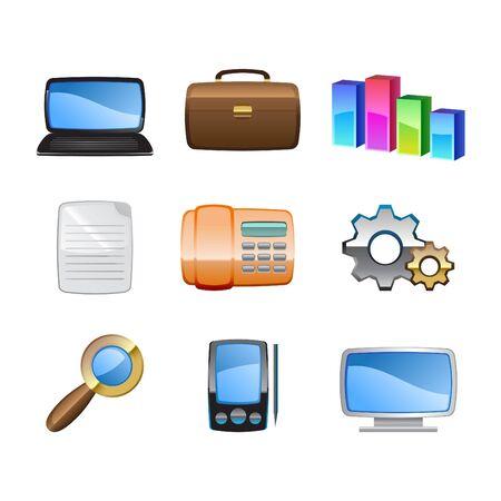 articulos oficina: Ilustraci�n del conjunto de la oficina de icono de los elementos. Foto de archivo
