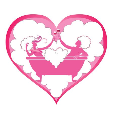illustration of  heart shape with  Two enamoured in a bathroom  illustration