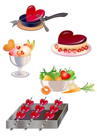 illustration of food design elements for  valentine`s day greeting cards Stock Illustration - 12407940