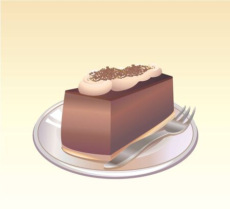 illustration of a piece of Chocolate pie on a plate with a fork. illustration