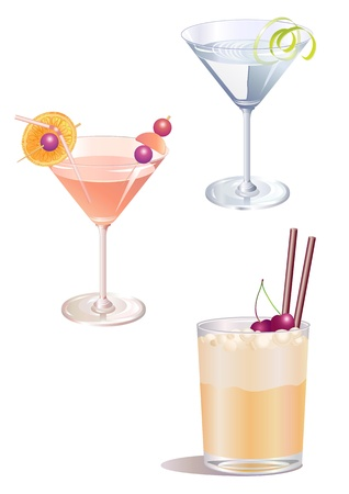nightclub bar: illustration of three different  decorated cocktail drinks