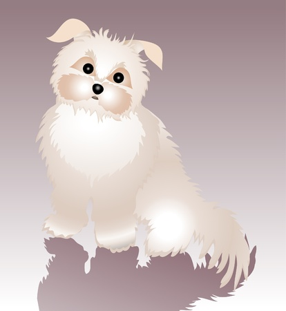 illustration of cute, funky dog and his shadow. illustration