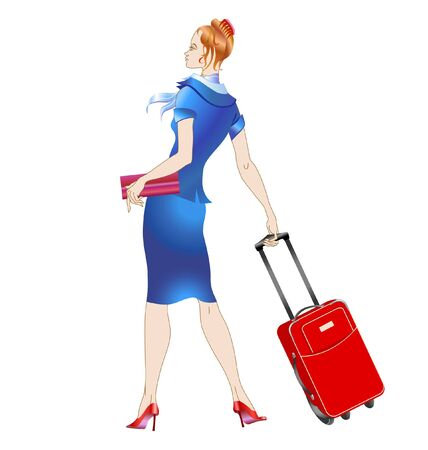 illustration of women stewardess, walking with the suitcase.