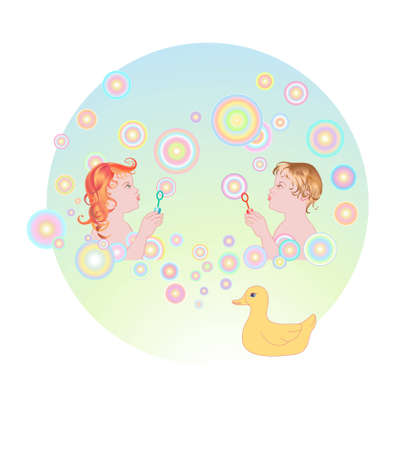 illustration of Young girl and boy blowing bubbles illustration