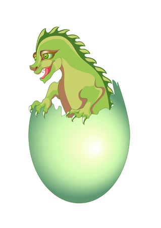 Illustration of  baby dragon breaking free from his egg illustration