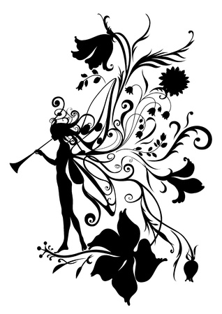 Illustration Silhouette of fairy with magic fife on flower  pattern design