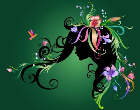 Illustration de belle fille abstrait avec des fleurs dans les cheveux