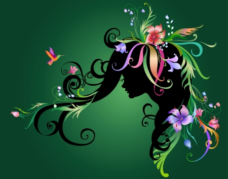 Illustration of Abstract beautiful girl with flowers in hair Stock Photo