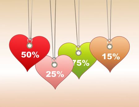 Illustration of  Colorful  label/tags in heart shape. You can use it for valentine`s day shopping concept . illustration