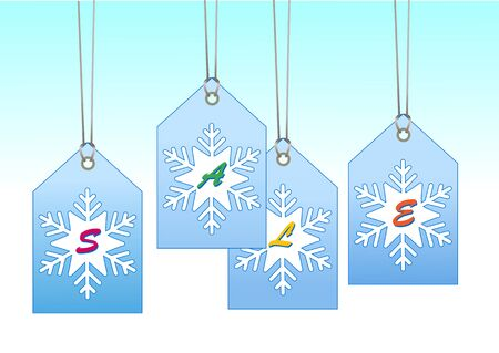 Illustration of  labeltags with snowflake shape. You can use it for christmas shopping concept illustration