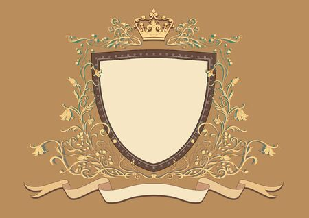blazonry: Illuctration of Heraldic shield with floral Decorative ornament and crown on the top
