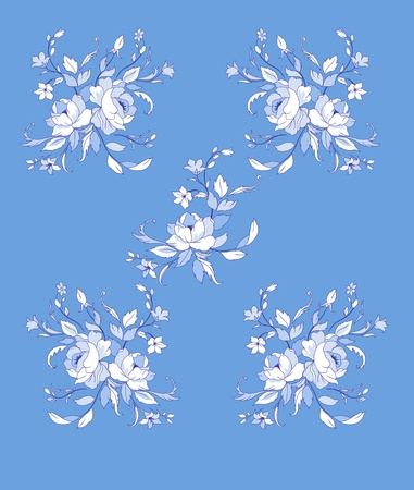 Illuctration of Decorative floral elements with big beautiful flowers photo