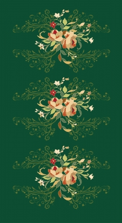 foliate: Illuctration of Decorative floral elements with big beautiful flowers