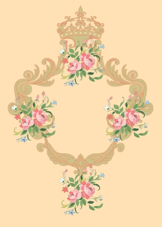 royal family: Illuctration of Decorative frame with floral  ornament and  big beautiful flowers Stock Photo