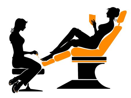 pedicure set: illustration of the beautifull woman silhouette during her spa visiting