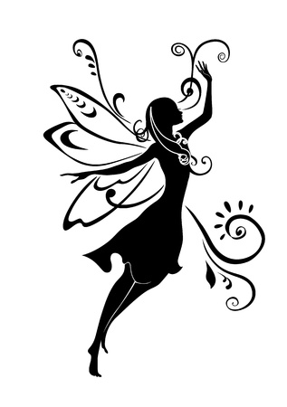 Illustration Silhouette of funky fairy on flower pattern design