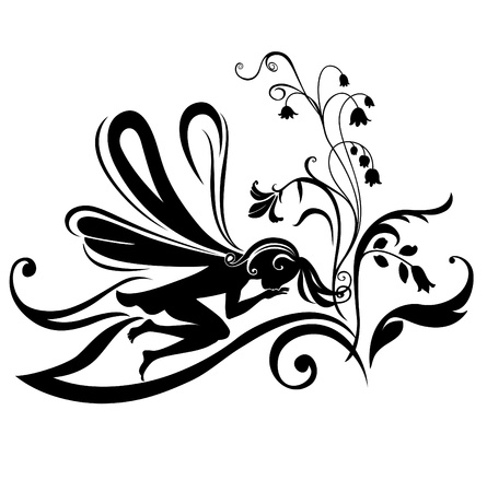 Illustration Silhouette of funky fairy on flower pattern design illustration