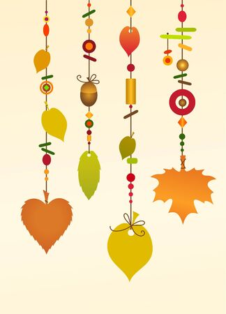 wind chimes: Illustration of Decorative Wind Chimes with floral leaf shape design Stock Photo
