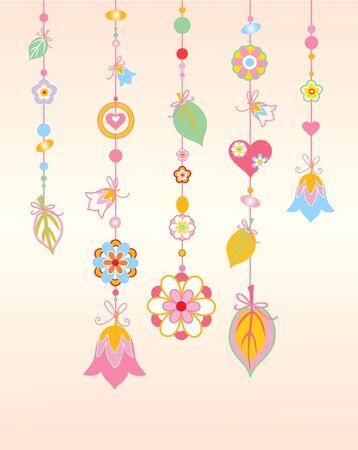 Illustration of   Decorative Wind Chimes with floral ornament design illustration