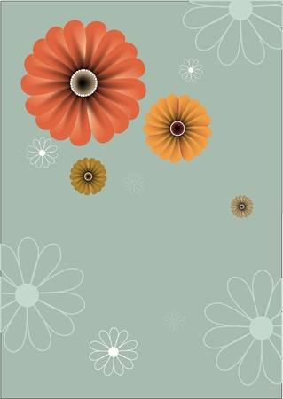 includes: illustration of floral abstract retro background. Includes the flowers in different sizes and colours.