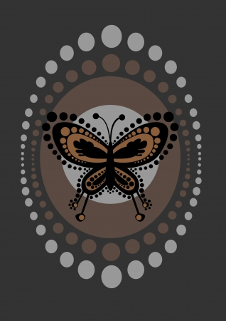 illustration of  funky  butterfly in retro style illustration