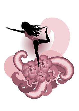 illustration of woman  practisig yoga  with stylized hibiscus and others floral elements  illustration