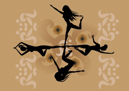nature woman: Illustration of four girls making yoga, sport and dancing balet  with stylized hibiscus and others floral elements