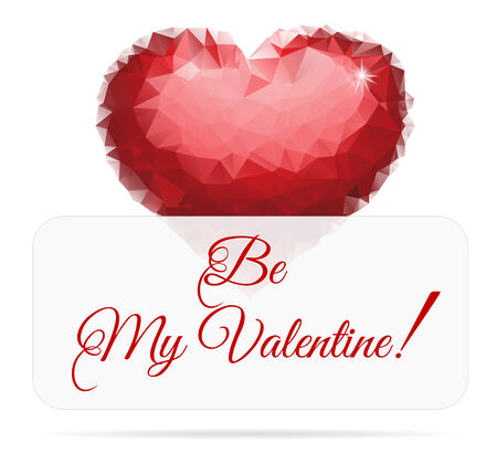 Valentines Day Card With Polygonal Design. Beautiful Ruby Heart.