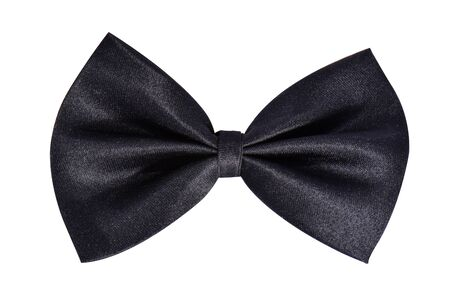 Blak satin butterfly tie or gift bow. Ribbon. Isolated on white Stock Photo