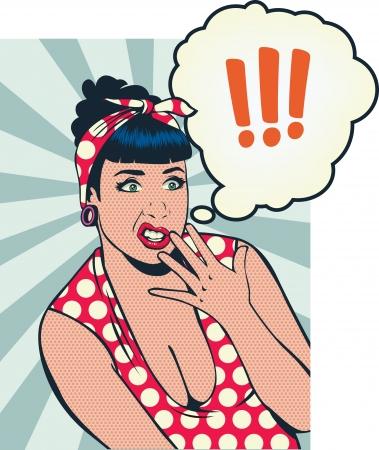 嫌悪の女の子の顔をピンで留める  イラスト・ベクター素材