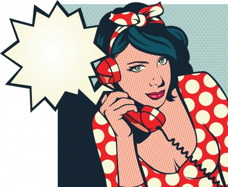 pop art woman: retro girl talking on phone