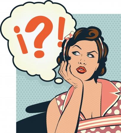 confus: R�tro fille confondre Illustration