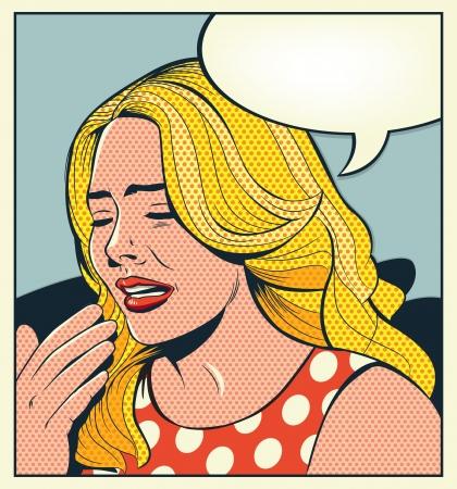 레트로 여자는 울고
