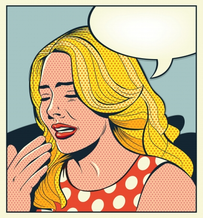 Retro Woman Crying Vector