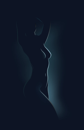 silhouette naked in the dark