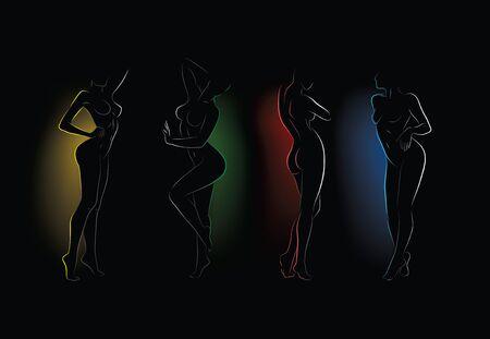 暗闇の中の裸の女性のシルエット