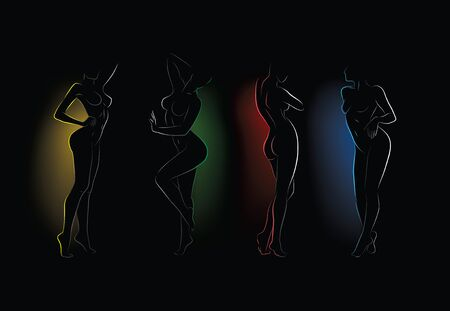 silhouettes of naked woman in the dark