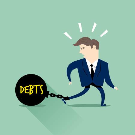 사업가 빚에 갇혀 일러스트