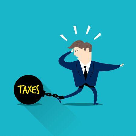 税金で閉じ込められた実業家  イラスト・ベクター素材