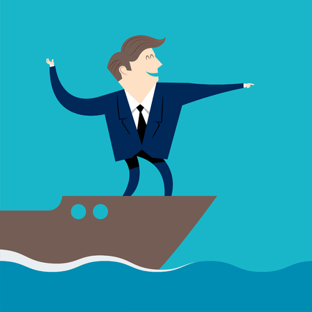 businessman leading towards a better course Illustration