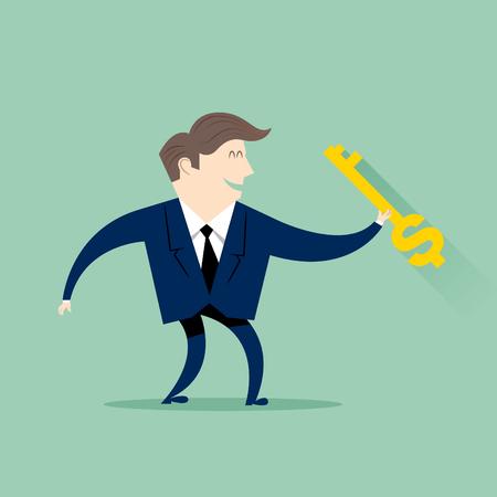 成功への鍵を持ったビジネスマン