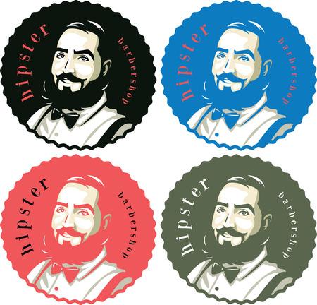 髭の色の 4 つのオプションで流行に敏感な男性  イラスト・ベクター素材