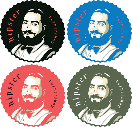 barbershop: Hipster men with a beard in four options of color,