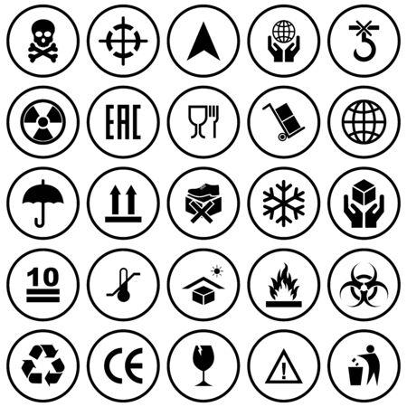 packaging product icon set vector symbol Ilustración de vector
