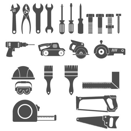 Construction tools and building tool icon set vector design symbol